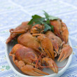 Crayfish crab crawfish red on a platter — Foto de Stock