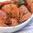 Crayfish crab crawfish red on a platter — Stockfoto