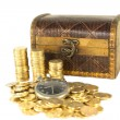 Chest full of gold coins of the old clock — Stock Photo #29260697