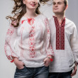 Young Ukrainicouple in national dress — Stock Photo #27406307