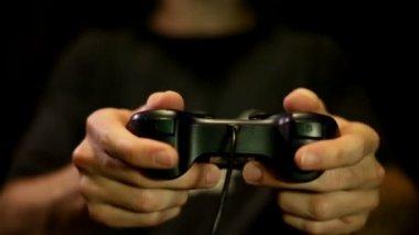 Playing games on Joystick, gamepad — Stock Video
