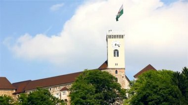 Ljubljana Castle Cloudscape timelapse — Stock Video