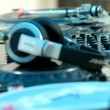 Making music on a mixing board. Rolling music on a party, Deejay being very energetic. — Stock Video