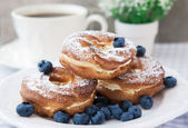 Cream puffs or choux pastry rings with blueberries on the plate — Stock Photo