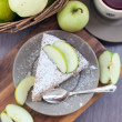 Piece of homemade apple pie with cinnamon — Stok fotoğraf
