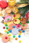 Colorful Christmas cookies and candies — Stock Photo