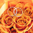 Gold wedding rings on the orange roses — Stock Photo