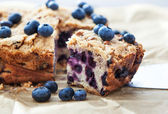 Piece of homemade blueberry cake — Stock Photo