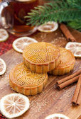 Moon cakes and tea — Foto Stock