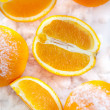 Oranges  on the snow — Stock Photo