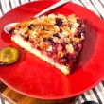 Piece of homemade plum pie — Stock Photo