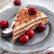 Chocolate cake with cream decorated with fresh cherry — Stock Photo