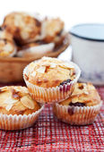 Muffins with almonds and cherries — Stock Photo