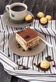 Portion of delicious tiramisu cake — Stockfoto