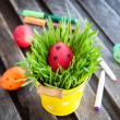 Colorful painted Easter egg on a fresh green grass — Stock Photo #42725589