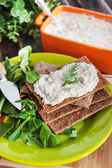 Herring creamy pate on a crispbread — Stock Photo