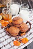 Fresh homemade apricot muffins — Stock Photo
