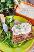 Herring creamy pate on a crispbread — Stock Photo