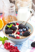 Healthy breakfast with granola and fresh berries — Stock Photo