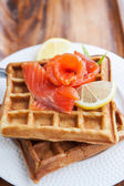 Potato waffles with salted salmon — Foto Stock