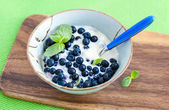 Fresh yogurt with blueberry and mint  — Stock Photo
