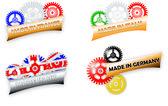 """Four """"Made in"""" Vector Logos — Vector de stock"""