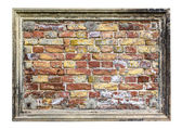 Stuccoframe med gamla brickwall i det isolerade på vit — Stockfoto
