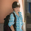 Stock Photo: Teen boy with rucksack on travel