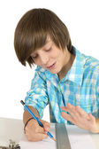 School boy with pencil and ruler, isolated on white — Stock Photo