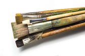 Old paint brushes isolated on white background — Stock Photo