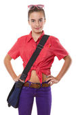Teenage girl with bag an sunglasses ready to go to school, isola — Stock Photo