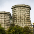 Two old cooling towers with some trees in front — Stock Photo