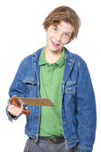 Sorrindo adolescente segurando uma serra com uma mão, isolado no branco — Fotografia Stock