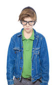 A nerd like male teenager with big black glasses, isolated on wh — Stock Photo