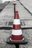 Red and white traffic cone shoot on the Tempelhofer Feld, Berlin — Stock Photo
