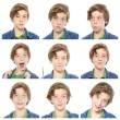 Collection of male teenager portraits, isolated on white — Stock Photo