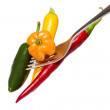 Stock Photo: Some hot chili on a fork, isolated on white