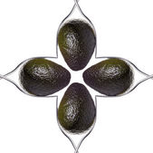 Quadrada de quatro abacates entre dois garfos, isolado no branco — Foto Stock