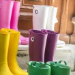 Some colored gum boots standing on stairs — Stock Photo #38653985
