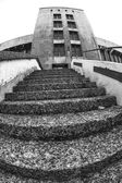 Black and white fish eye shoot, tower and stairs at the airport — Stock Photo