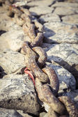Old rusty chain on some rocks with light sepia color filter — Stock Photo