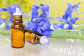 Two bottles with homeopathy globules and flowers, with white ref — Stock Photo