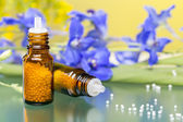 Two bottles with homeopathy globules and flowers, with green ref — Stock Photo