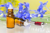 Two bottles with homeopathy globules, flowers and syringe with b — Stock Photo