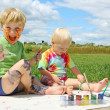Messy Children Painting — Stock Photo