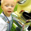 Baby with Classic Car — Stock Photo