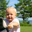 Cute Baby at Park by Lake — Stock Photo