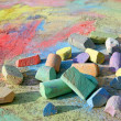 chalk scattered on sidewalk — Stock Photo