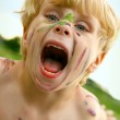Crazy Child with Painted Face — Stock Photo