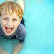 Smiling Child in Baby Pool — Stock Photo